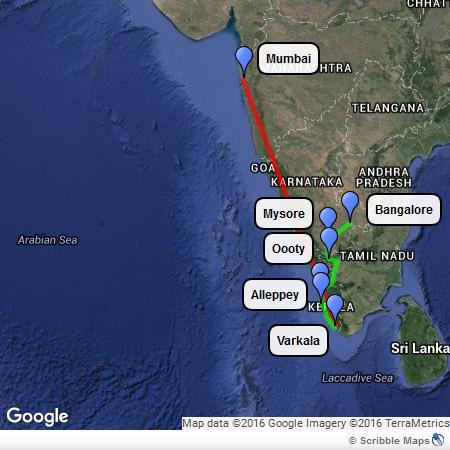 Itinerario nell'India del sud
