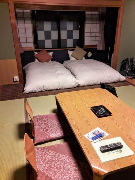 Dormire in un ryokan; stanza con due materassi 'fissi'